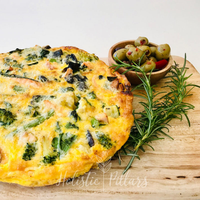salmon and vegetable frittata